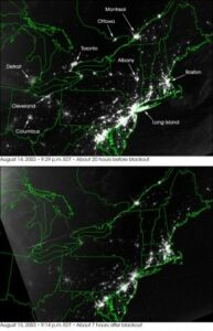 Before (top) and after (bottom) photos of a power failure that left many American cities in the dark on the evening of Thursday, Aug. 14, 2003. (Courtesy of NASA/Released)