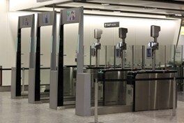 Photo of the e-GATE system at the London Heathrow Air-port in Terminal 4. (Courtesy of Wikipedia/Released)