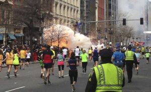 Image of the explosion during the Boston marathon bombing, April 15, 2013. (Courtesy of www.nationalreview.com/Released)