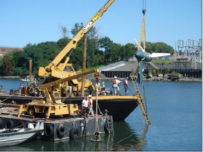 Verdant testing its tidal energy device in New York's East River. (Photo courtesy of Verdant Power/Released)