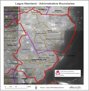 Figure 4: Administrative map of Lagos. Source by Washington College Students. (Copyright Digital Globe 2014/Released)