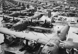 Production of B-24 Liberators at Ford plant in Detroit, MI. (Understanding Capitalism Part V: Evolution of the American Economy. Price, R.G., March 15, 2013/Released)