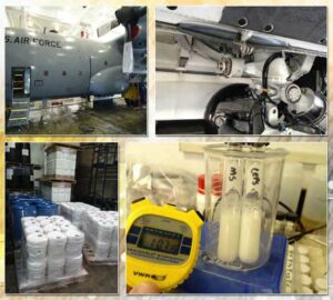 Figure 1: C-130 wash (upper left), C-17 landing gear wash (upper right), SSDX-12 manufacturing (lower left), stimulant agents remain emulsified after one hour (lower right). (Released)