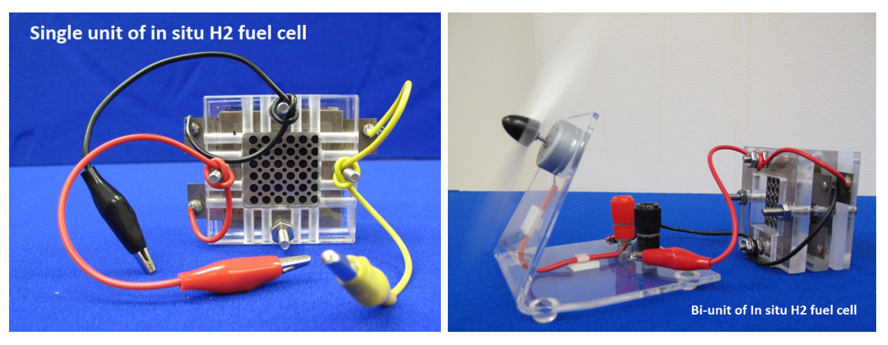 Figure 3. Single unit (Left) and bi-unit (Right) of in situ hydrogen fuel cells using methanol to generate hydrogen