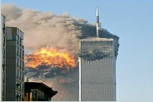 The north face of Two World Trade (south tower) im-mediately after being struck by United Airlines Flight 175 on September 11, 2001. (Courtesy of Wikimedia Commons/Released)