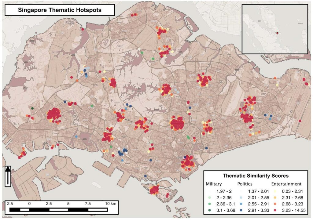Figure 2. Sociocultural hotspots in Singapore detected through the classification of tweets originating from these locations: entertainment (shades of red), politics (shades of blue) and military (shades of green). (Released)