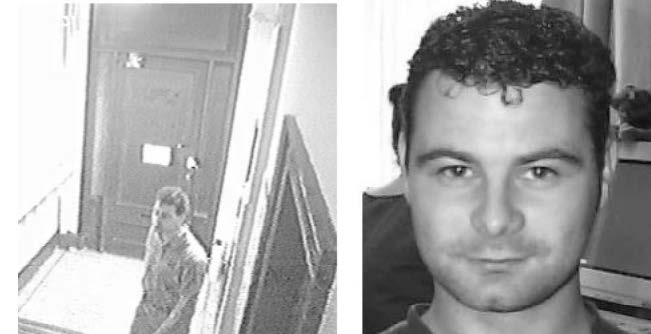 Figure 4. Examples of the images used in Reference 1: A still from a CCTV video (left) and a high quality face photo (right). (Released)