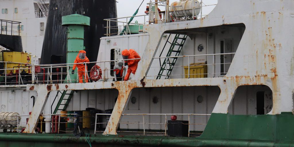 U.S Army Reserve Staff Sgt. William Haynes, survey team member with the 773rd Civil Support Team, 7th Mission Support Command, left, conducts site characterization with fellow team member, Sgt. Jonathan Medina on a vessel during a training exercise with the Netherlands CBRN Response unit in Gravendeel, Netherlands, July 8, 2020. The one-day CBRN situational training exercise focused on a CBRN incident on a maritime vessel at the Dutch Harbor in Gravendeel, Netherlands (Source:   U.S Army Reserve by Capt. Lorenzo Llorente, 773rd CST UPAR).