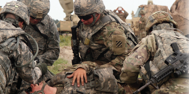 Photo Illustration created by HDIAC and adapted from U.S. Army photo (Available for viewing at https://asc.army.mil/web/news-alt-jfm18-speeding-combat-casualty-care/).