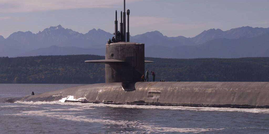 Puget Sound, Washington (October 15, 2017) - The Ohio-class ballistic-missile submarine USS Louisiana (SSBN 743) transits the Hood Canal as it returns to its homeport following a strategic deterrent patrol. Louisiana is one of eight ballistic-missile submarines stationed at Naval Base Kitsap-Bangor providing the most survivable leg of the strategic deterrence triad for the United States (U.S. Navy photo by Lt. Cmdr. Michael Smith/released).