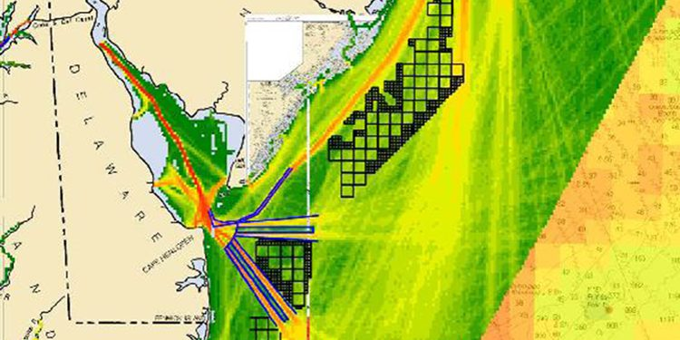 This map created from a digital tracking tool shows the density of maritime traffic in and out of Delaware Bay overlaid with black grid-blocks locating proposed wind energy areas off the coasts of New Jersey, Delaware, and Maryland. The image is from the Atlantic Coast Port Assess Route Study undertaken by the Coast Guard to address potential navigational safety risks associated with offshore wind energy development  (graphic courtesy of National Oceanic and Atmospheric Administration/MarineCadastre.gov).